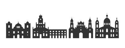Nicaragua-Logo Lokalisierte Nicaragua-Architektur auf wei?em Hintergrund stock abbildung