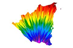 Nicaragua - map is designed rainbow abstract colorful pattern stock illustration