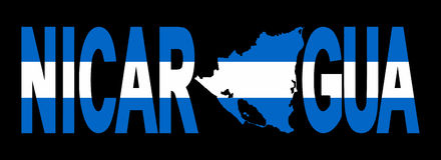 Nicaragua with map on flag Stock Photography