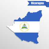 Nicaragua map with flag inside and ribbon Stock Image