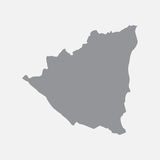 Nicaragua map in gray on a white background Stock Photo