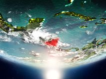 Nicaragua mit Sonne auf Planet Erde Stockfotografie
