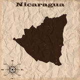 Nicaragua old map with grunge and crumpled paper. Vector illustration Stock Photo