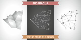 Nicaragua-Sammlung der modernen Karten-, Grauer und Schwarzer und silbernerdes punktkonturn-Mosaiks 3d Karte des Vektordesigns stock abbildung