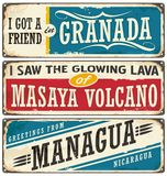 Nicaragua signs collection with popular touristic destinations. Travel souvenirs set with cities in Nicaragua on rusty scratched metal background royalty free illustration