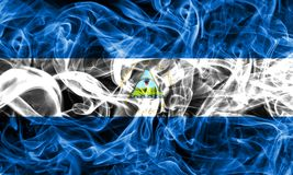Nicaragua smoke flag on a black background.  stock photography