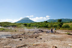 Nicaragua steaming mud pots. Steaming mud pots at a volcano in Nicaragua, South America Stock Photos