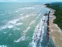Nicaragua travel destination. Aerial view. Ocean scape aerial panorama Royalty Free Stock Photography