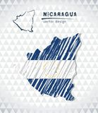 Nicaragua vector map with flag inside isolated on a white background. Sketch chalk hand drawn illustration stock illustration