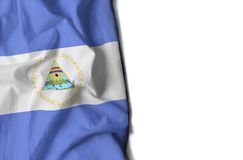 Nicaragua wrinkled flag, space for text Stock Photography