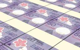 Nicaraguan cordoba bills stacks background. Royalty Free Stock Images