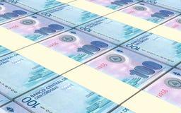 Nicaraguan cordoba bills stacks background. Stock Image