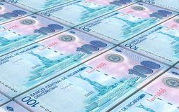 Nicaraguan cordoba bills stacks background. Stock Photo