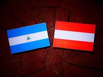 Nicaraguan flag with Austrian flag on a tree stump. Nicaraguan flag with Austrian flag on a tree stump Royalty Free Stock Photo