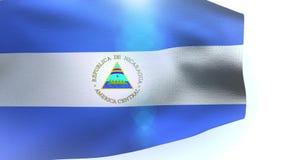 Nicaraguan flag blowing in the wind waving. Wave video stock video footage