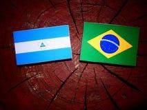Nicaraguan flag with Brazilian flag on a tree stump isolated. Nicaraguan flag with Brazilian flag on a tree stump Stock Photo