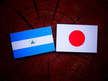Nicaraguan flag with Japanese flag on a tree stump isolated. Nicaraguan flag with Japanese flag on a tree stump Stock Photo