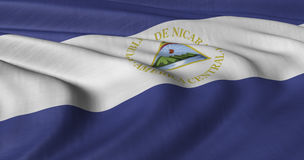 Nicaraguan Flag. Flag of Nicaragua fluttering in breeze Royalty Free Stock Photo
