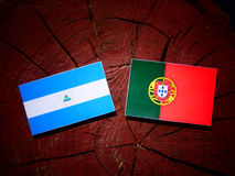 Nicaraguan flag with Portuguese flag on a tree stump isolated. Nicaraguan flag with Portuguese flag on a tree stump Royalty Free Stock Photo