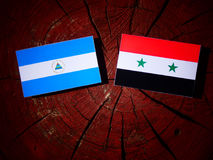 Nicaraguan flag with Syrian flag on a tree stump isolated. Nicaraguan flag with Syrian flag on a tree stump Royalty Free Stock Photos