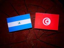 Nicaraguan flag with Tunisian flag on a tree stump isolated. Nicaraguan flag with Tunisian flag on a tree stump Stock Photos