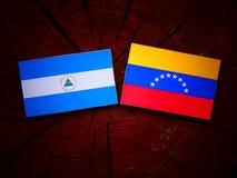 Nicaraguan. Flag with Venezuelan flag on a tree stump Stock Image