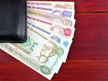 Nicaraguan money in the black wallet. On a wooden background Royalty Free Stock Photography