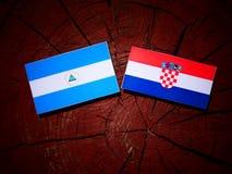 Nicaraguansk flagga med den kroatiska flaggan på en trädstubbe Royaltyfri Foto