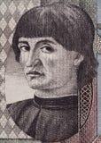 Niccolo Machiavelli face portrait on Italian lira banknote close Royalty Free Stock Photo