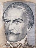 Niccolo Machiavelli face portrait on Italian lira banknote close Royalty Free Stock Photos