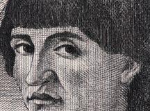 Niccolo Machiavelli face portrait on Italian lira banknote extre Stock Photography