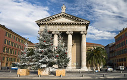 Nice. Place de l'lle de Beaute on the threshold of Christmas Royalty Free Stock Image