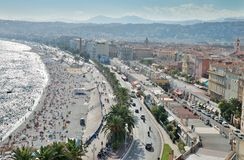 Nice. Seafront and the English Promenade in Nice, France Stock Photography