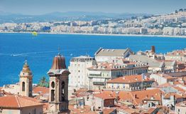 Nice. Panorama and seafront of Nice, France Stock Photos