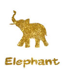 Nice abstract elephant of golden glitter, with trunk raised up - interesting element for your design and good luck symbol Stock Photography