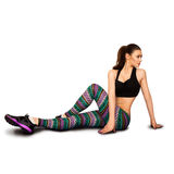 Nice adult woman doing stretching on fitness Royalty Free Stock Photo
