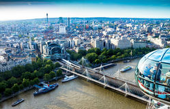 Nice aerial  London cityscape  with Charing Cross Station Stock Photography