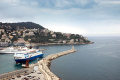 Nice - Aerial view of the Port de Nice Stock Images