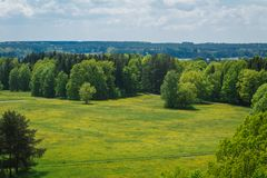 Nice aerial view to meadow with green trees, Czech landscape stock images
