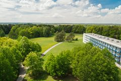 Nice aerial view to meadow, trees and building, Czech landscape royalty free stock photography