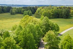 Nice aerial view to meadow, trees and footpath, Czech landscape royalty free stock photos