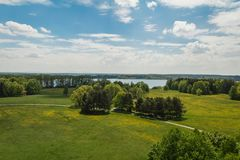 Nice aerial view to meadow, trees and pond, Czech landscape royalty free stock images