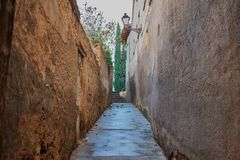 Nice alley at sunrise with lamppost and green trees in the background in Toledo royalty free stock image