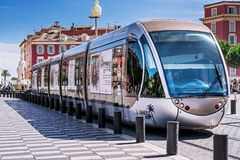 Nice, Alpes-Maritimes department,French Riviera,August 11, 2017, Place Massena.Public transport on the streets of Nice, tram at t royalty free stock images