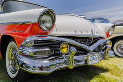 Nice amazing closeup front view of classic vintage retro car Stock Image