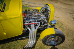 Nice amazing front closeup view of classic vintage retro hot rod car engine Royalty Free Stock Photos