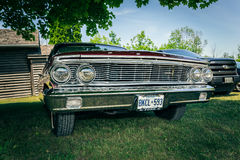 nice amazing front view of classic vintage retro car standing in park Stock Image