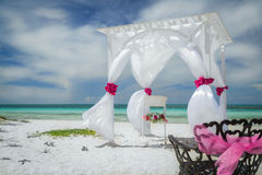 Nice amazing great closeup view of wedding decorated gazebo on Cuban Cayo Coco tropical beach Stock Photography