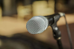 Nice amazing  view of microphone detailed head against blurred outdoor background Royalty Free Stock Photography