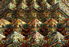 Nice ancient art tile pattern on pagoda in Thai style Stock Image